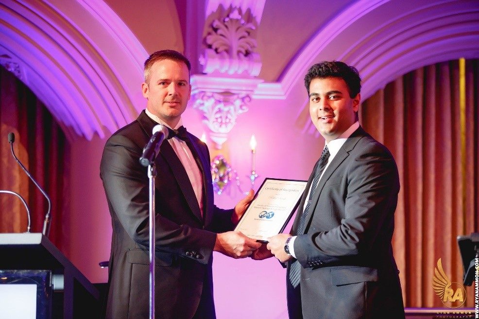 SPE Scholarship Award Recipient Rahul Suresh Receiving His Award from SPE WA 2017-18 Chairperson, Mitch Sherston, at the SPE WA Annual Black-Tie Fundraising Ball on 29th July 2017