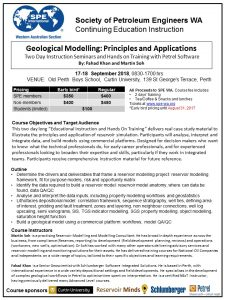 CE Geological Modelling Course Flyer-Sept 2018