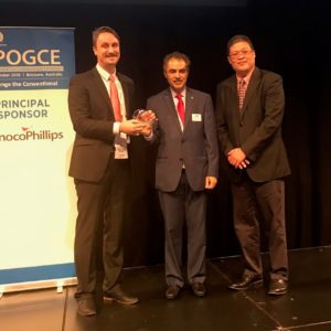 Daniel O'Reilly receiving the SPE Southern Asia Pacific Region Outstanding Young Member Service Award