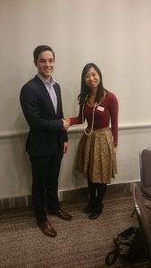 Scholarship recipient •Christopher Evans receiving award from SPE WA 2015-2016 Chairperson, Stephanie Lim